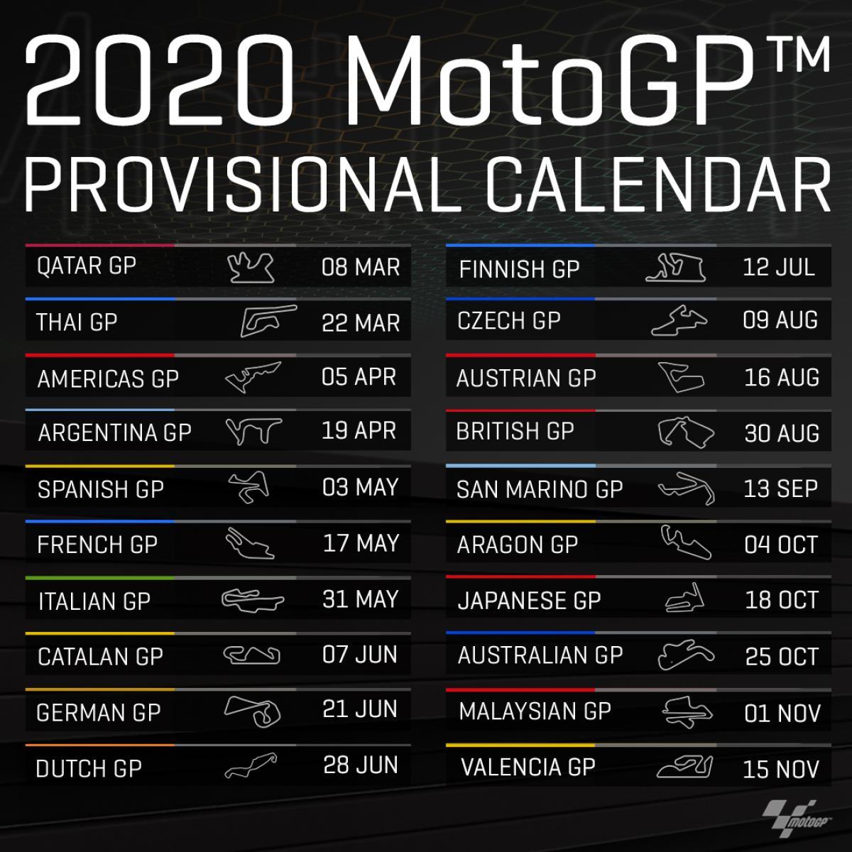 Calendario Moto 2020.Motogp Calendario Provisorio De 2020 E Divulgado Veja As