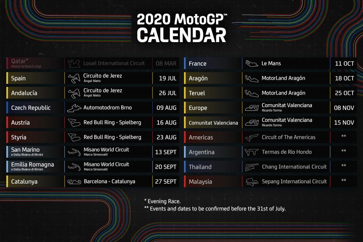motogp calendário 2020
